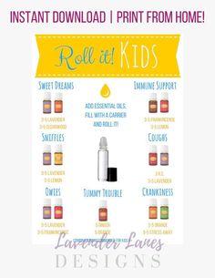 DIGITAL DOWNLOAD | Essential Oil KIDS Roller Recipe Card | Young Living Essential Oils