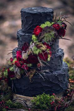 Red Riding Hood Noir Wedding Inspiration Shoot // black wedding cake // photo: Nerinna Studios