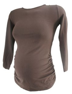 Brown Isabella Oliver Maternity Long Sleeve Ruched Maternity Blouse (Like New - Size 1) - Motherhood Closet - Maternity Consignment