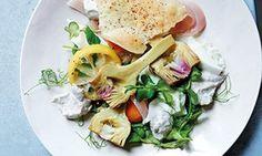 Peter Gordon's mozzarella, artichokes,  walnut sauce and sumac lavosh