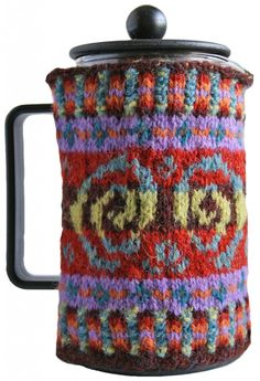 "Cafetiére Cosy designed by Nicki Merrall for the ""Fantastic Fair Isle"" workshop, now available as a kit."