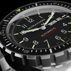 Marathon SAR Diver's Automatic Watch. Sellita SW220 26 jewel movement.  16 luminescent tritium gas tubes.  Waterproof to 300m.