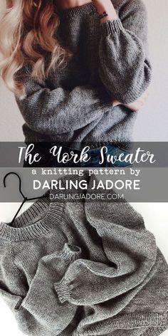 the york sweater knitting pattern suéter raglán de punto de arriba hacia abajo fácil ; the york sweater knitting pattern einfacher, von oben nach unten gestrickter raglan-pullover Easy Sweater Knitting Patterns, Easy Knitting Projects, Knitting Wool, Knitting For Beginners, Knit Patterns, Knitting Needles, Vogue Knitting, Diy Knitting Ideas, Knit Sweater Patterns