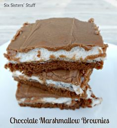 """Mom's Famous Chocolate Marshmallow Brownies- seriously the best brownies you will ever have!"" They are addicting! #brownies #recipe #dessert"