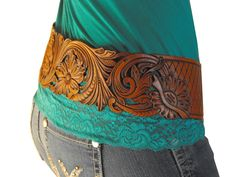 Hand made, hand tooled leather belt by Clair Kehrberg
