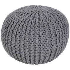"""Alexia Knotted Sphere Pouf \""""  \""""  \"""", Gray (905 SEK) ❤ liked on Polyvore featuring home, furniture, ottomans, surya, gray furniture, grey ottoman, handcrafted furniture and hand made furniture"""