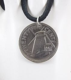 Barbados Windmill Coin Necklace 25 Cents Mens Necklace