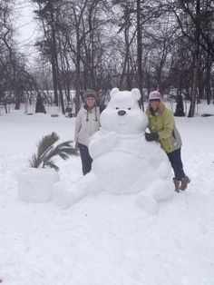 Winter fun!  Winnie the Pooh snow sculpture.