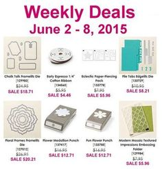 8 items, 25% off for one week in these Weekly Deals. Stampin' Up!, card, paper, scrapbook, craft, rubber, stamps, hobby, Big Shot, Sizzix, frailest, edgeless, ribbon, punch, mosaic, embossing folder, www.lisasstampstudio.com