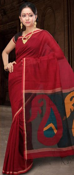 Red Bengal Handloom Matka Silk Saree with Blouse