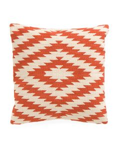 Made In India 18x18 Geometric Pillow to go with the rug that has a little orange in it!