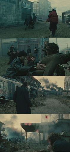 One of the best single-shot sequences in movie history: the 6-minute Uprising scene in Children of Men (2006). Cinematography by Emmanuel Lubezki. #Cinematography
