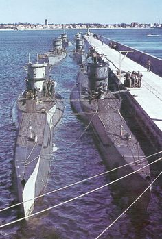 Rare colour photograph of Type VII's in harbour.