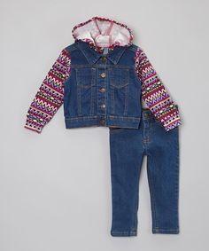 Another great find on #zulily! Pink & Purple Denim Hoodie Vest & Jeans - Infant, Toddler & Girls #zulilyfinds