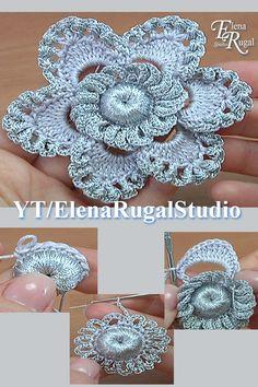 - We used : cotton, 169 meters in 50 grams; - microfiber, 250 meters in 50 grams. Irish Crochet Patterns, Crochet Wrap Pattern, Crochet Flower Tutorial, Crochet Motifs, Crochet Designs, Crochet Flowers, Crochet Lace, Knitting Patterns, Freeform Crochet