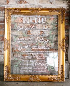 Gold Framed acrylic (like glass) wedding menu, hand painted, floral illustrations, hand lettered, calligraphy, wedding signs