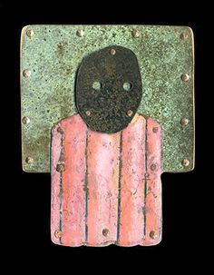 """Judith Hoyt: , In copper and stainless steel. Approx 2 1/2"""" x 2""""."""