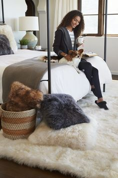 Softness underfoot is the ultimate luxury. Add dimension, texture, and style with a cozy sheepskin rug bedside and look forward to waking up. Fluffy Rugs Bedroom, Animal Skin Rug, Country Rugs, Plastic Carpet Runner, Bedroom Design Inspiration, Fur Carpet, Affordable Rugs, Cheap Carpet Runners, Best Carpet