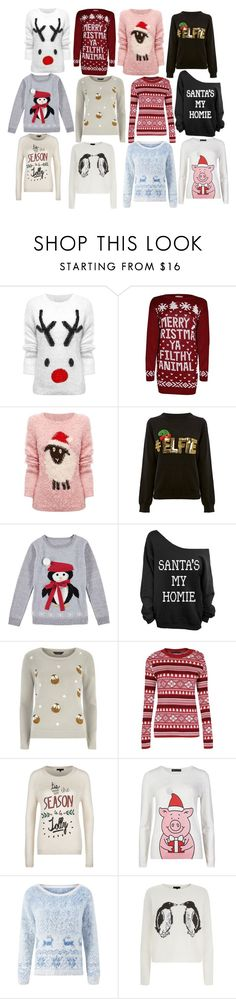 """""""Christmas Jumpers"""" by beginnersbeauty ❤ liked on Polyvore featuring Lipsy, Dorothy Perkins, M&S, Christmas, Jumpers, sweaterweather and ChristmasJumpers"""