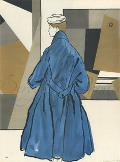 1953 ORIGINAL 2 Linen-backed DIOR Fashion Illustration prints, Bernard BLOSSAC   eBay