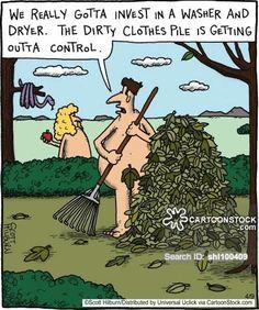 Funny Adam And Eve Garden of Eden Joke Cartoon Picture Jw Humor, Bible Humor, Bible Jokes, Christian Cartoons, Christian Jokes, Funny Cartoons, Funny Comics, Funny Jokes, Funniest Jokes