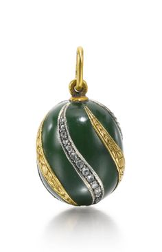 A Fabergé jewelled and gold-mounted hardstone egg pendant, workmaster Michael…