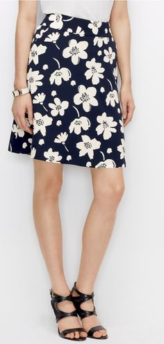 Celebrate spring with a happy skirt. #flowers #springskirts #workstyle