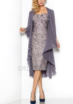 Grey Elegant Sweetheart Mothers Dresses Tea-Length Sheath/Column Cap-Sleeve Lace Mother Of The Bride Groom Dress with Jacket Moms Gown Mother Of The Bride Suits, Mother Of Groom Dresses, Bride Groom Dress, Mothers Dresses, Mother Bride, Mother Of The Bride Dresses Tea Length, Mother Mother, Bride Gowns, Mob Dresses