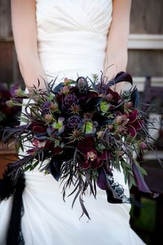 Ways to Have the Chicest Halloween Wedding Ever This dark floral bouquet is beyond beautiful.This dark floral bouquet is beyond beautiful. Purple Wedding Bouquets, Floral Wedding, Wedding Colors, Wedding Styles, Bridal Bouquets, Bouquet Wedding, Dress Wedding, Burgundy Wedding, Gothic Wedding Dresses