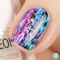 p2 gloss goes neon - distressed rainbow watercolor nailart