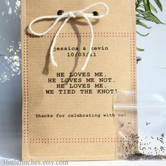 Quirky Eco Wedding Favors // Forget Me Not Seeds // He Loves Me. He Loves Me Not... // (etsy.com)