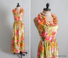 Vintage 1960s Floral Maxi Dress.      https://www.etsy.com/listing/100070657/vintage-1960s-dress-60s-floral-maxi