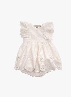 Stella McCartney Kids Foxglove Baby Girl Eyelet Dress - WHITE - PRE-ORDER #KidsFashion