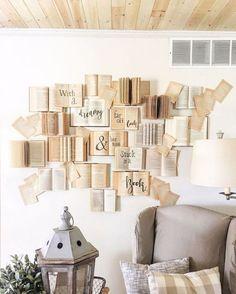 DIY Buch Wand Tutorial DIY book wall tutorial - - Check more at decoratio Diy Wand, Creative Wall Decor, Creative Walls, Unique Wall Decor, Creative Ideas, Book Wall, Creation Deco, Diy Décoration, Easy Diy