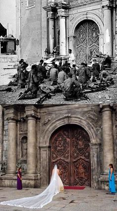 Dito, Noon: San Agustin Church, Intramuros, 1945 x Soldiers seen attending mass after the Battle of Manila. Philippine Architecture, Filipino Architecture, Spanish Architecture, History Photos, Ww2 Photos, Photographs, Philippine Holidays, Intramuros, Filipino Culture