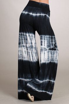 a2ad1a72e9a9d Black Tie Dye Palazzo Ombre Stretch Wide Leg Yoga Pants High Waist Pink  White Tie Dye