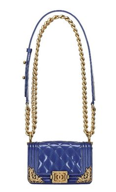 Blue Chanel Cruise 2013 #handbag with gold hardware