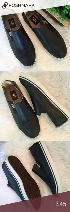 Men's Genuine Leather Slip-On UGG, 8.5, EUC UGG black leather slip-on sneaker in men's size 8.5. Elastic side vents for easy on/off. Made for comfort.   🔹Genuine leather upper, textile and sheepskin inside 🔹Gently used with minimal wear and in excellent condition 🔹Bundle and save 15% UGG Shoes Loafers & Slip-Ons