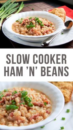 Affordable, delicious, and nourishing, these Slow Cooker Ham and Beans are the perfect pantry meal to always have in your back pocket. Healthy Slow Cooker, Crock Pot Slow Cooker, Crock Pot Cooking, Slow Cooker Recipes, Crockpot Recipes, Cooking Recipes, Healthy Recipes, Budget Cooking, Yummy Recipes