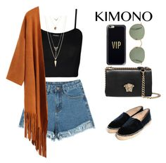"""Kimono"" by jessicabiazi ❤ liked on Polyvore featuring WearAll, Charlotte Russe, Casetify, Versace and kimonos"