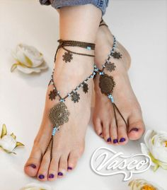Boho Barefoot Sandals. Gypsy Bellydance Shoes. Foot by VascoDesign, $25.00