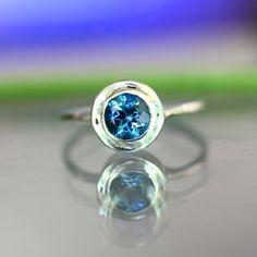 London Blue Topaz Sterling Silver Ring Gemstone by louisagallery