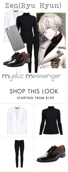 """""""Zen(Ryu Hyun) from Mystic Messenger"""" by kayxiv1256 ❤ liked on Polyvore featuring Jaeger, Rumour London, Paige Denim, Loake and Native Union"""