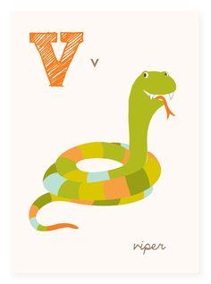 V is for Viper  ABC alphabet art  nursery wall by SeaUrchinStudio