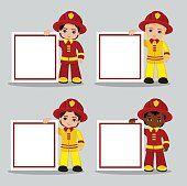 Vector de Conjunto de niño de historieta bombero con bastidor.