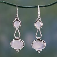 """HELP UNICEF"" ~ Rainbow Moonstone Sterling Silver Dangle Earrings, 'Goddesses' ~ market.unicefusa.org"