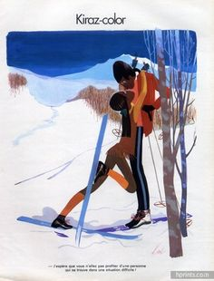 Edmond Kiraz 1973 ski instructor and his student, Kiss, winter sports