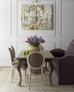 """Liday"" Dining Table, ""Blanchett"" Chairs, & ""Klein Napa\' Banquette by Haute House at Horchow. Couch at the dining table. Help eliminate ""tv dinners"" and bring the meal back to the table."