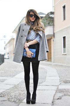 Mini,tights, cute belt, button down shirt and a neutral coat to wrap it all up..