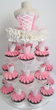 Ballerina Cupcakes Tower for bridal party or wedding Ballerina Cupcakes, Cupcake Bailarina, Tutu Cupcakes, Mocha Cupcakes, Party Cupcakes, Cupcakes Design, Ballerina Birthday Parties, Ballerina Party, 3rd Birthday